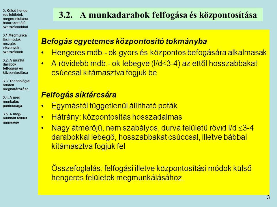 3 3.2. A munkadarabok felfogása és központosítása Befogás egyetemes központosító tokmányba Hengeres mdb.- ok gyors és központos befogására alkalmasak