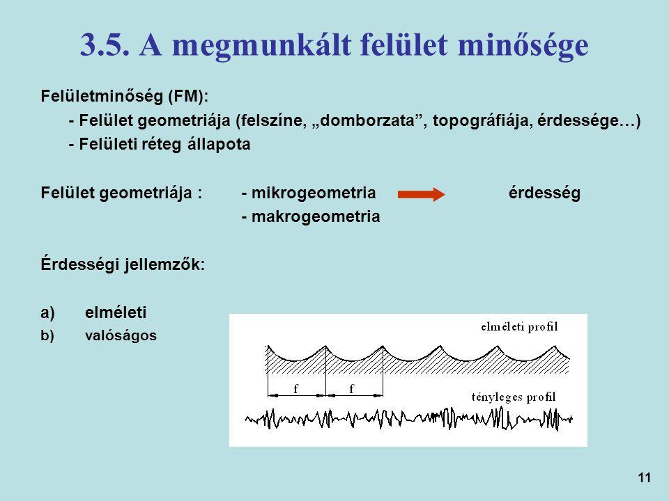 """11 3.5. A megmunkált felület minősége Felületminőség (FM): - Felület geometriája (felszíne, """"domborzata"""", topográfiája, érdessége…) - Felületi réteg á"""