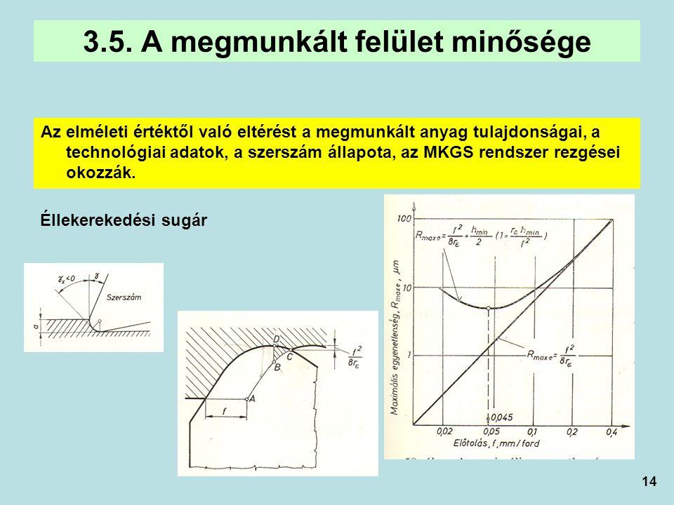14 Az elméleti értéktől való eltérést a megmunkált anyag tulajdonságai, a technológiai adatok, a szerszám állapota, az MKGS rendszer rezgései okozzák.