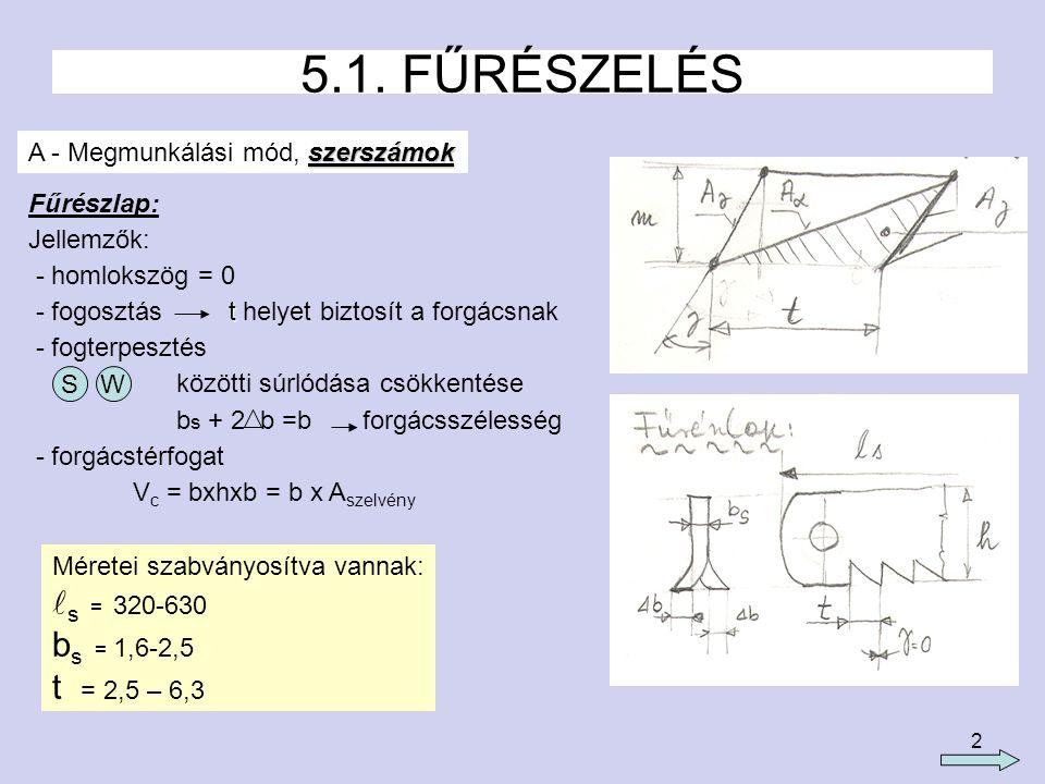 2 5.1. FŰRÉSZELÉS szerszámok A - Megmunkálási mód, szerszámok Fűrészlap: Jellemzők: - homlokszög = 0 t - fogosztás t helyet biztosít a forgácsnak - fo