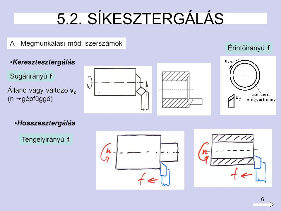 6 5.2. SÍKESZTERGÁLÁS A - Megmunkálási mód, szerszámok Keresztesztergálás f Sugárirányú f Hosszesztergálás f Tengelyirányú f f Érintőirányú f Állanó v