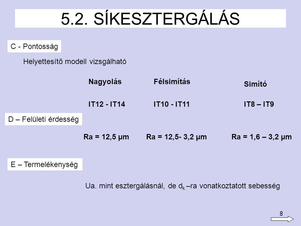 8 C - Pontosság 5.2. SÍKESZTERGÁLÁS Helyettesítő modell vizsgálható IT12 - IT14IT10 - IT11IT8 – IT9 D – Felületi érdesség Simító NagyolásFélsimítás Ra