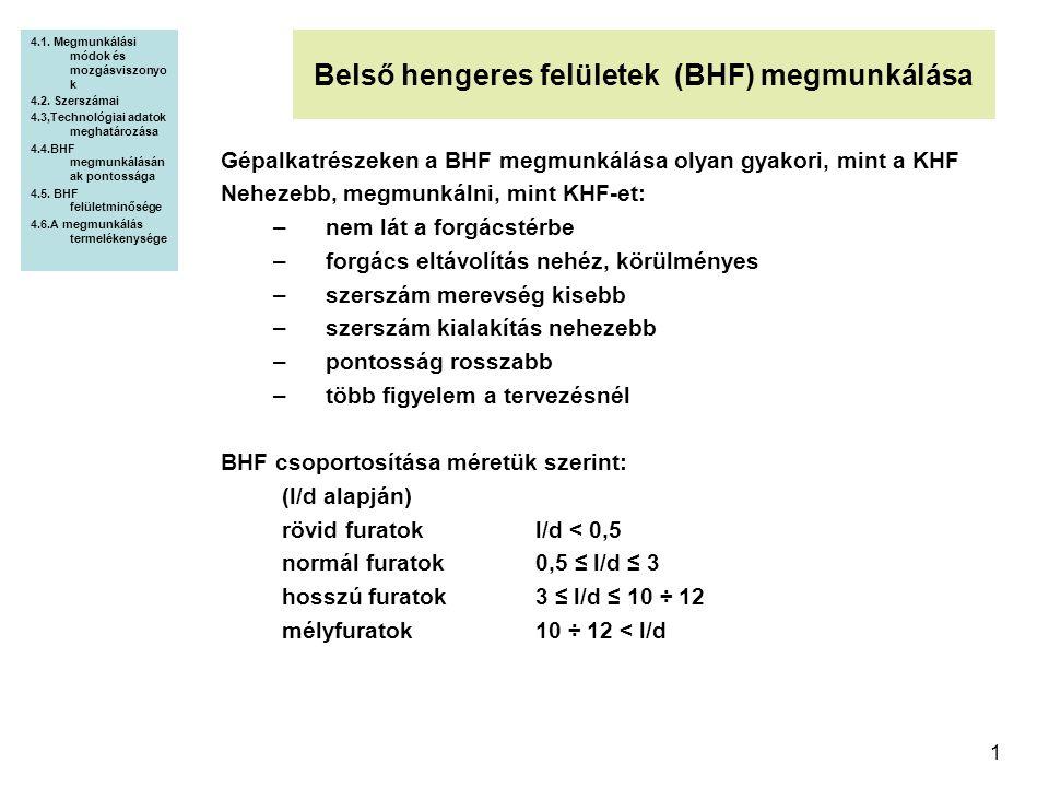 1 Belső hengeres felületek (BHF) megmunkálása 4.1. Megmunkálási módok és mozgásviszonyo k 4.2. Szerszámai 4.3,Technológiai adatok meghatározása 4.4.BH