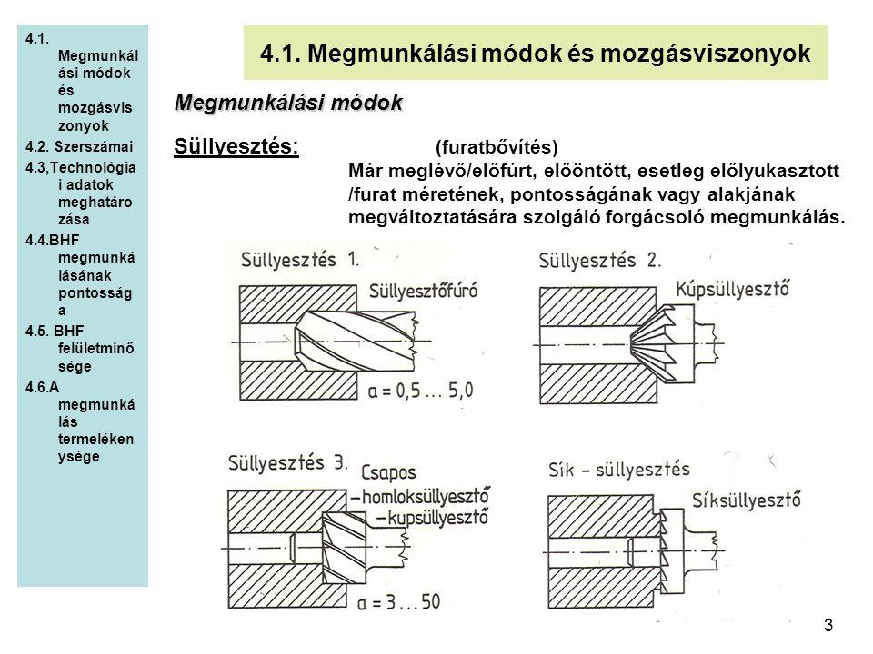 3 4.1. Megmunkálási módok és mozgásviszonyok 4.2. Szerszámai 4.3,Technológia i adatok meghatáro zása 4.4.BHF megmunká lásának pontosság a 4.5. BHF fel