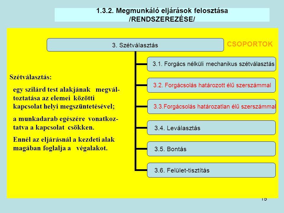 15 1.3.2. Megmunkáló eljárások felosztása /RENDSZEREZÉSE/ 3. Szétválasztás 3.1. Forgács nélküli mechanikus szétválasztás 3.2. Forgácsolás határozott é