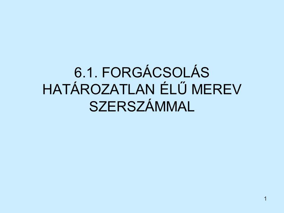 1 6.1. FORGÁCSOLÁS HATÁROZATLAN ÉLŰ MEREV SZERSZÁMMAL