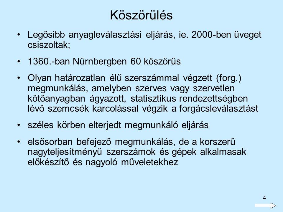4 Legősibb anyagleválasztási eljárás, ie. 2000-ben üveget csiszoltak; 1360.-ban Nürnbergben 60 köszörűs Olyan határozatlan élű szerszámmal végzett (fo