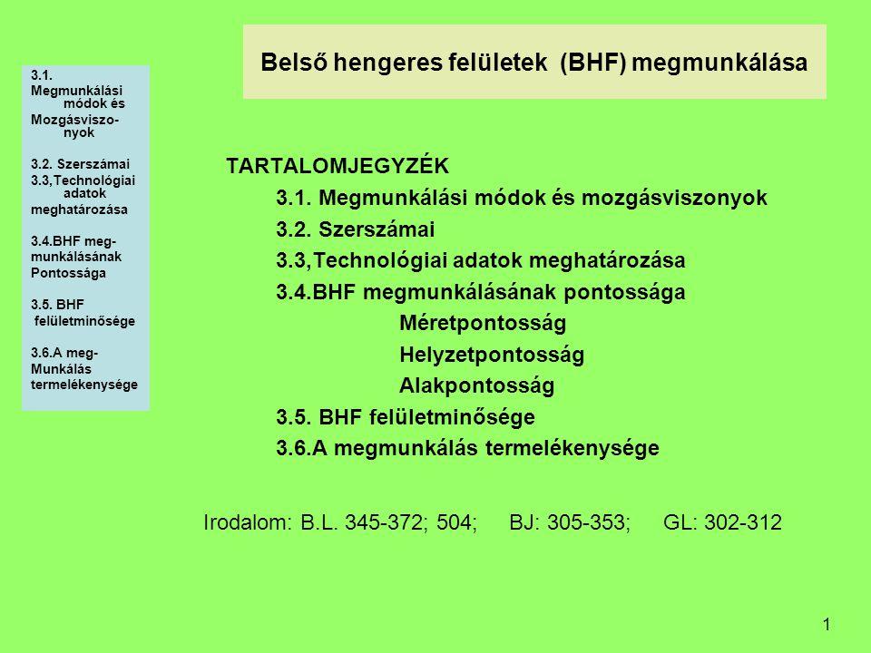 1 Belső hengeres felületek (BHF) megmunkálása 3.1. Megmunkálási módok és Mozgásviszo- nyok 3.2. Szerszámai 3.3,Technológiai adatok meghatározása 3.4.B