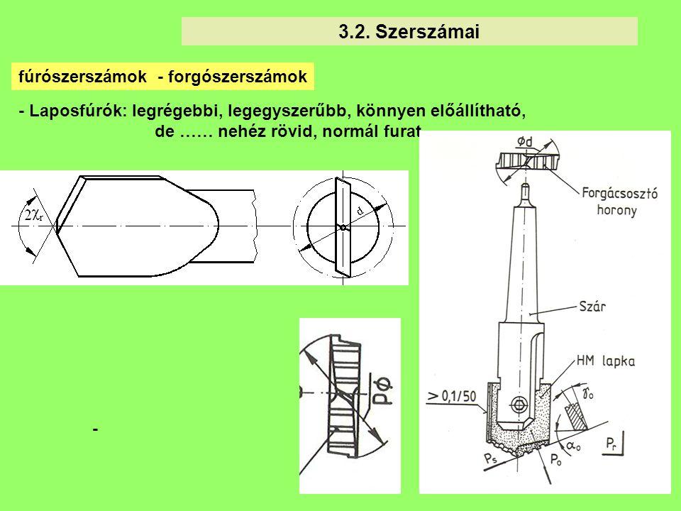 10 3.2. Szerszámai - fúrószerszámok - forgószerszámok - Laposfúrók: legrégebbi, legegyszerűbb, könnyen előállítható, de …… nehéz rövid, normál furat