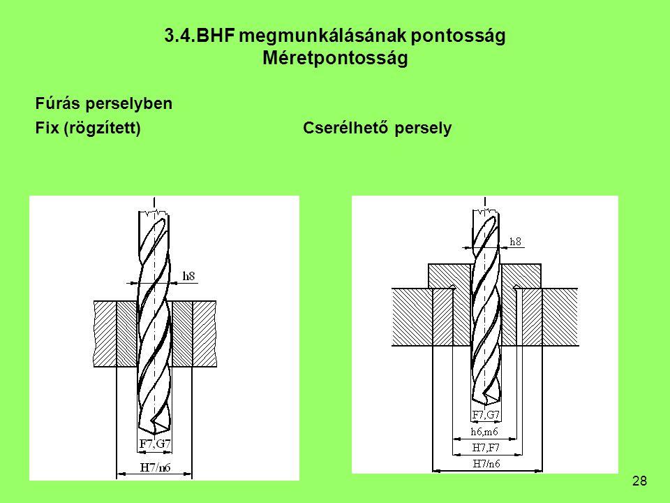 28 Fúrás perselyben Fix (rögzített)Cserélhető persely 3.4.BHF megmunkálásának pontosság Méretpontosság