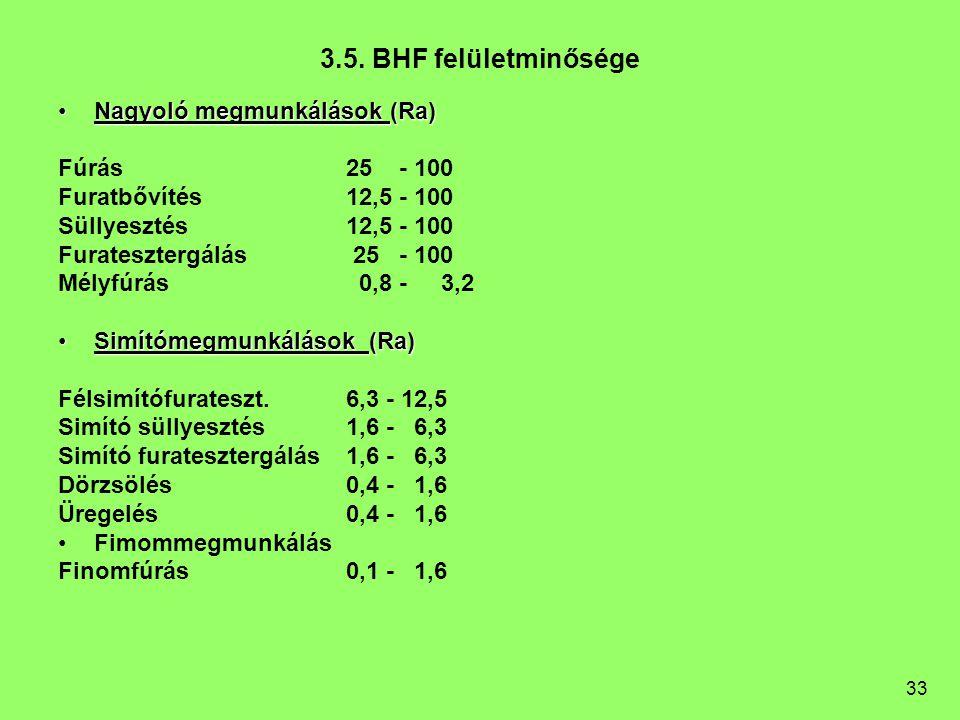 33 3.5. BHF felületminősége Nagyoló megmunkálások (Ra)Nagyoló megmunkálások (Ra) Fúrás25 - 100 Furatbővítés12,5 - 100 Süllyesztés12,5 - 100 Furateszte