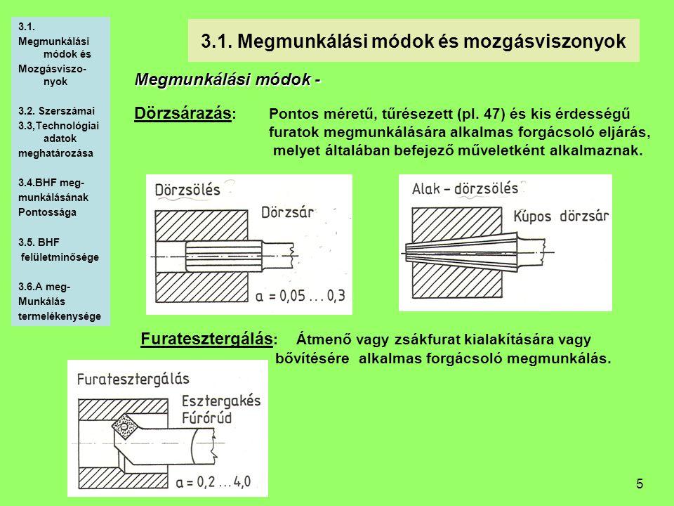 5 3.1. Megmunkálási módok és mozgásviszonyok Megmunkálási módok - Dörzsárazás :Pontos méretű, tűrésezett (pl. 47) és kis érdességű furatok megmunkálás