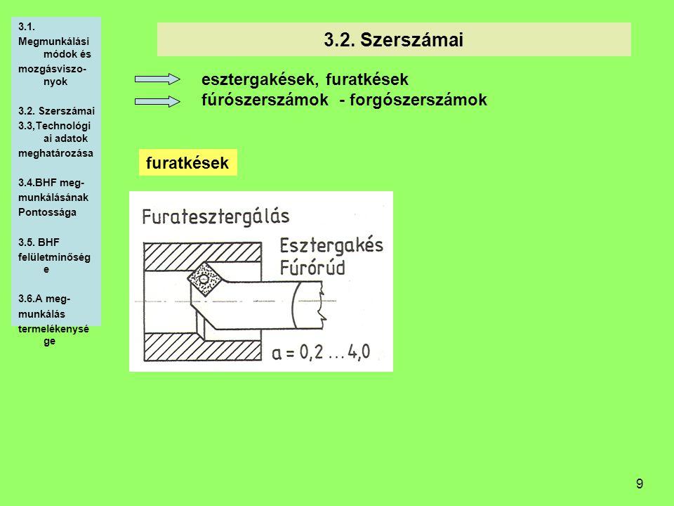 9 3.2. Szerszámai esztergakések, furatkések fúrószerszámok - forgószerszámok 3.1. Megmunkálási módok és mozgásviszo- nyok 3.2. Szerszámai 3.3,Technoló