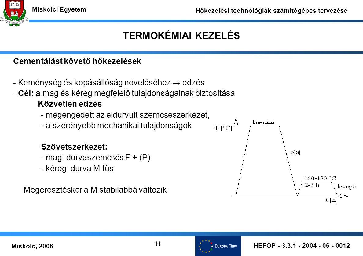 HEFOP - 3.3.1 - 2004 - 06 - 0012 Miskolc, 2006 Miskolci Egyetem Hőkezelési technológiák számítógépes tervezése 11 TERMOKÉMIAI KEZELÉS Cementálást köve