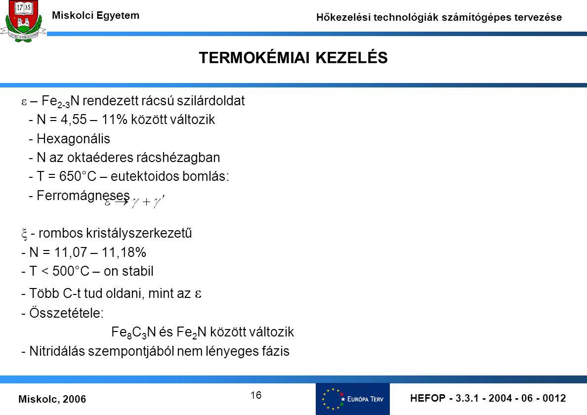 HEFOP - 3.3.1 - 2004 - 06 - 0012 Miskolc, 2006 Miskolci Egyetem Hőkezelési technológiák számítógépes tervezése 16 TERMOKÉMIAI KEZELÉS ε – Fe 2-3 N ren