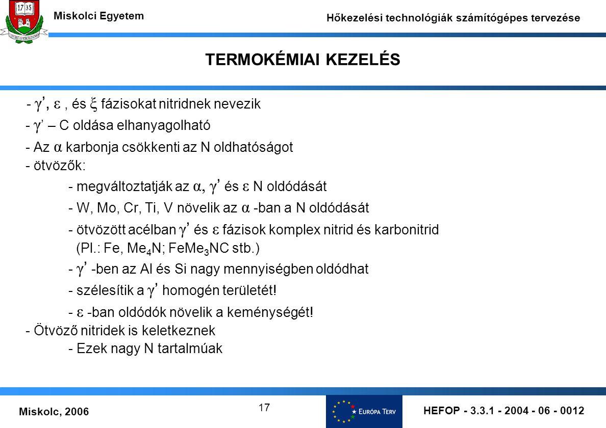 HEFOP - 3.3.1 - 2004 - 06 - 0012 Miskolc, 2006 Miskolci Egyetem Hőkezelési technológiák számítógépes tervezése 17 TERMOKÉMIAI KEZELÉS - γ ', ε, és ξ f
