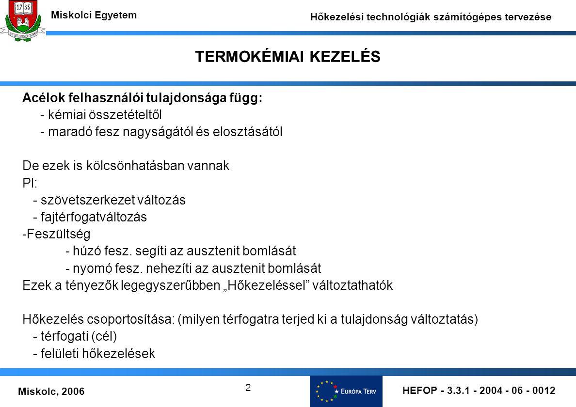 HEFOP - 3.3.1 - 2004 - 06 - 0012 Miskolc, 2006 Miskolci Egyetem Hőkezelési technológiák számítógépes tervezése 2 TERMOKÉMIAI KEZELÉS Acélok felhasznál