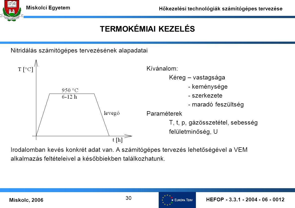 HEFOP - 3.3.1 - 2004 - 06 - 0012 Miskolc, 2006 Miskolci Egyetem Hőkezelési technológiák számítógépes tervezése 30 TERMOKÉMIAI KEZELÉS Nitridálás számi