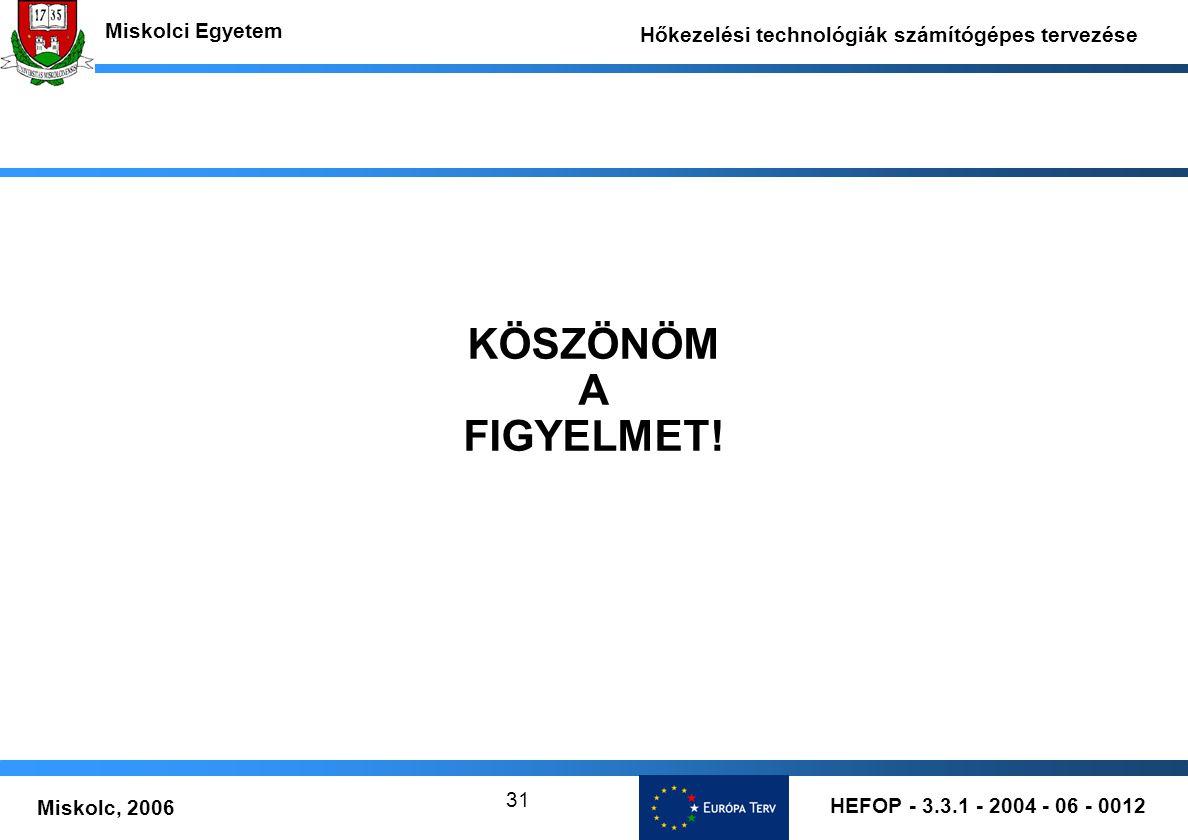 HEFOP - 3.3.1 - 2004 - 06 - 0012 Miskolc, 2006 Miskolci Egyetem Hőkezelési technológiák számítógépes tervezése 31 KÖSZÖNÖM A FIGYELMET!