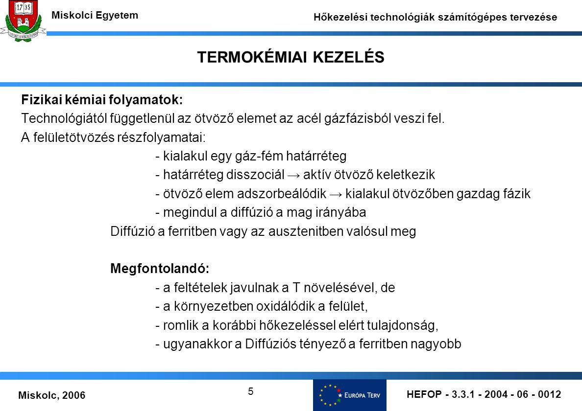 HEFOP - 3.3.1 - 2004 - 06 - 0012 Miskolc, 2006 Miskolci Egyetem Hőkezelési technológiák számítógépes tervezése 5 TERMOKÉMIAI KEZELÉS Fizikai kémiai fo