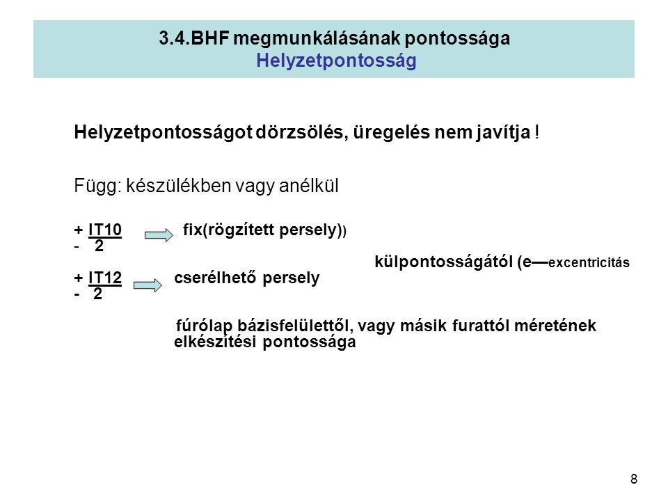 9 a)TENGELYMETSZET álló munkadarabnál 3.4.BHF megmunkálásának pontosság Alakpontosság Fúró tengelyvonala nem egyezik meg f irányával Furat: görbetengelyű ill.