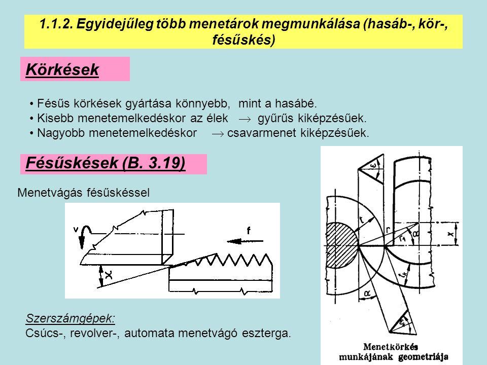 16 1.1.2. Egyidejűleg több menetárok megmunkálása (hasáb-, kör-, fésűskés) Körkések Fésűs körkések gyártása könnyebb, mint a hasábé. Kisebb menetemelk