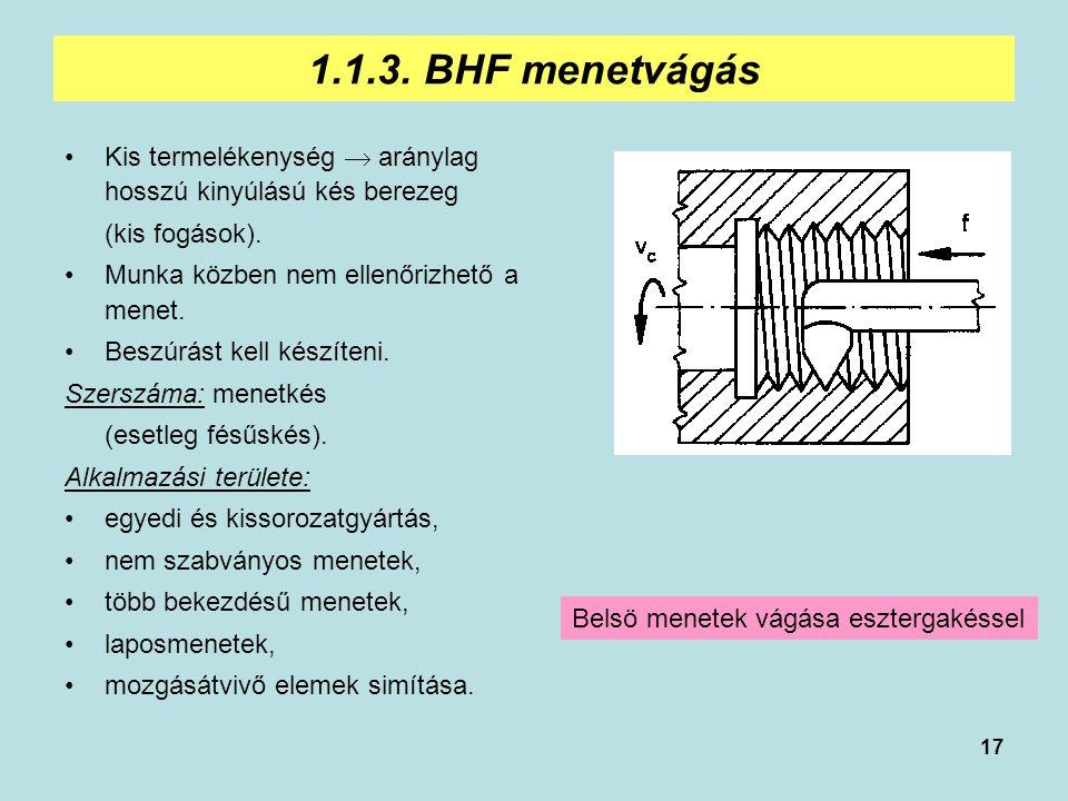 17 1.1.3. BHF menetvágás Kis termelékenység  aránylag hosszú kinyúlású kés berezeg (kis fogások). Munka közben nem ellenőrizhető a menet. Beszúrást k