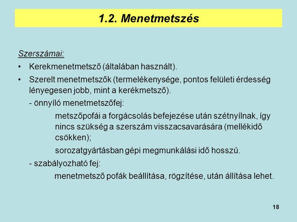 18 1.2. Menetmetszés Szerszámai: Kerekmenetmetsző (általában használt). Szerelt menetmetszők (termelékenysége, pontos felületi érdesség lényegesen job