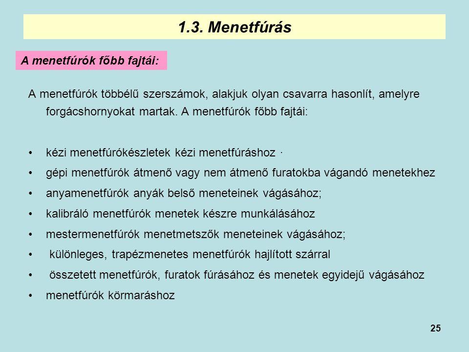 25 1.3. Menetfúrás A menetfúrók főbb fajtái: A menetfúrók többélű szerszámok, alakjuk olyan csavarra hasonlít, amelyre forgácshornyokat martak. A mene