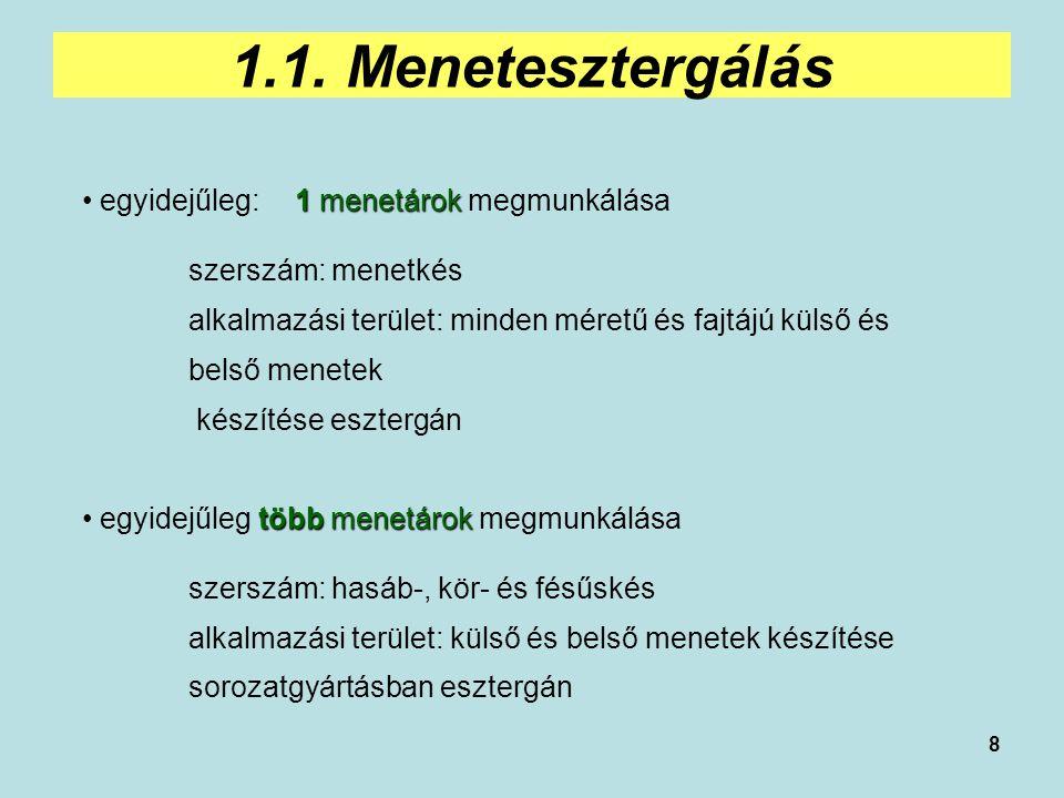 8 1.1. Menetesztergálás 1 menetárok egyidejűleg: 1 menetárok megmunkálása szerszám: menetkés alkalmazási terület: minden méretű és fajtájú külső és be