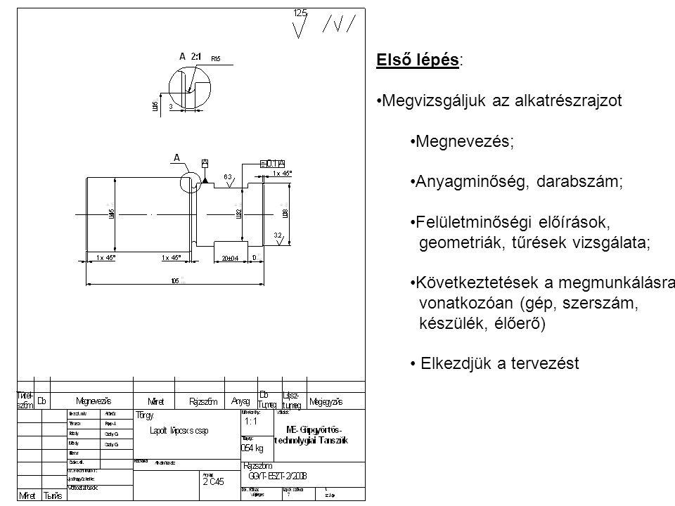Első lépés: Megvizsgáljuk az alkatrészrajzot Megnevezés; Anyagminőség, darabszám; Felületminőségi előírások, geometriák, tűrések vizsgálata; Következt