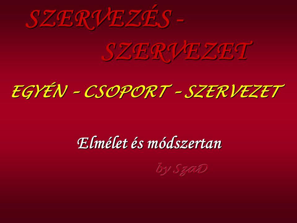 SZERVEZÉS - SZERVEZET EGYÉN – CSOPORT – SZERVEZET Elmélet és módszertan