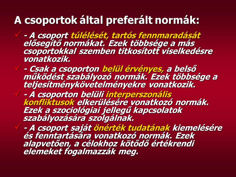 A csoportok által preferált normák: - A csoport túlélését, tartós fennmaradását elősegítő normákat.