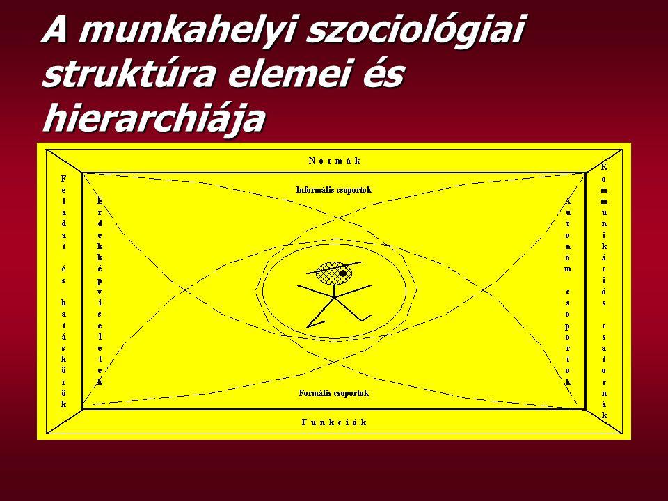 A munkahelyi szociológiai struktúra elemei és hierarchiája