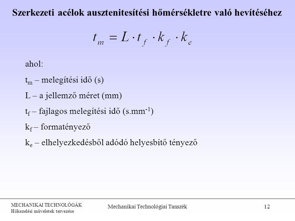 MECHANIKAI TECHNOLÓGÁK Hőkezelési műveletek tervezése Mechanikai Technológiai Tanszék12 ahol: t m – melegítési idő (s) L – a jellemző méret (mm) t f –