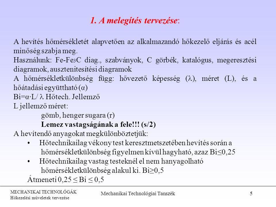 MECHANIKAI TECHNOLÓGÁK Hőkezelési műveletek tervezése Mechanikai Technológiai Tanszék5 1. A melegítés tervezése: A hevítés hőmérsékletét alapvetően az