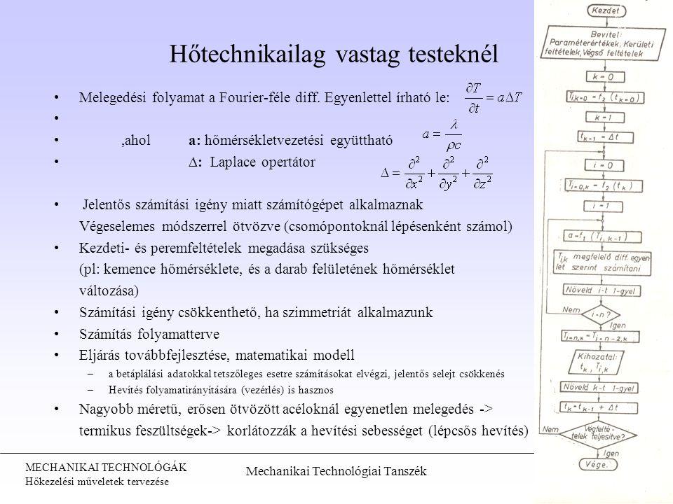 MECHANIKAI TECHNOLÓGÁK Hőkezelési műveletek tervezése Hőtechnikailag vastag testeknél Melegedési folyamat a Fourier-féle diff. Egyenlettel írható le:,