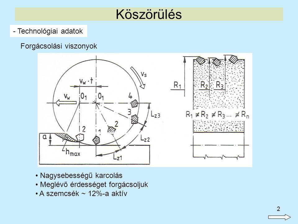 3 Köszörülés - Technológiai adatok Forgácsolási viszonyok Nagy negatív γ =~ - 70Nagy mélyítő (passzív) erő Legtöbbször α = ~ 0erős súrlódás, hőképződés, szikra
