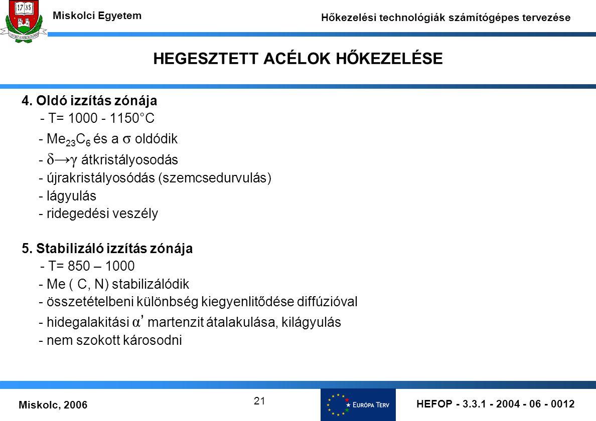 HEFOP - 3.3.1 - 2004 - 06 - 0012 Miskolc, 2006 Miskolci Egyetem Hőkezelési technológiák számítógépes tervezése 21 HEGESZTETT ACÉLOK HŐKEZELÉSE 4.