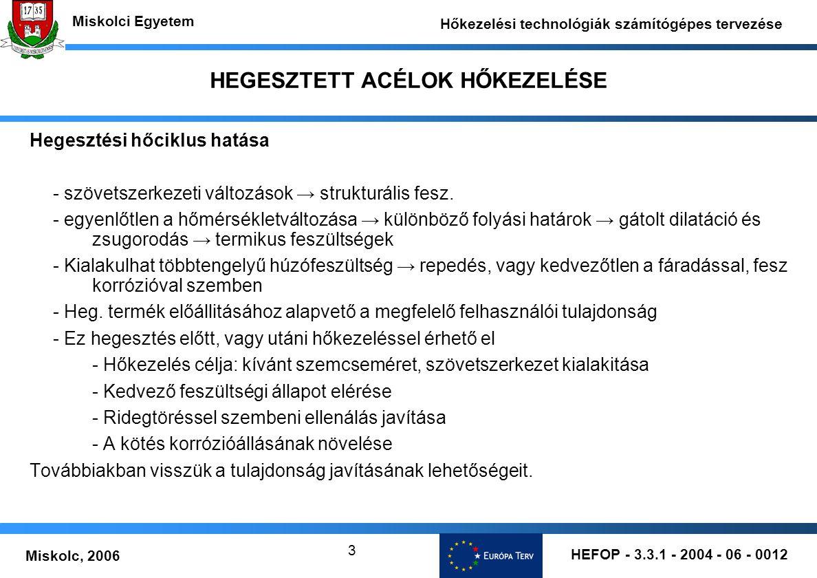 HEFOP - 3.3.1 - 2004 - 06 - 0012 Miskolc, 2006 Miskolci Egyetem Hőkezelési technológiák számítógépes tervezése 3 HEGESZTETT ACÉLOK HŐKEZELÉSE Hegesztési hőciklus hatása - szövetszerkezeti változások → strukturális fesz.