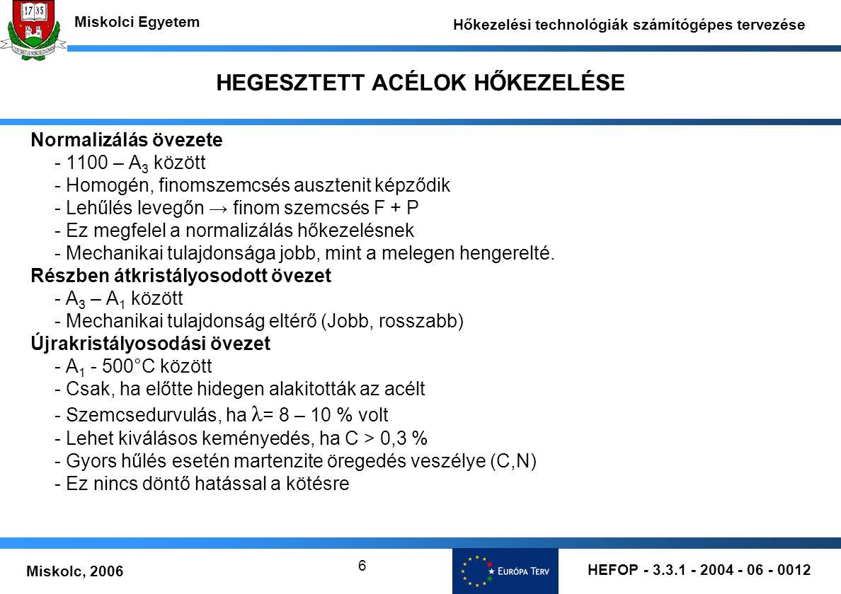 HEFOP - 3.3.1 - 2004 - 06 - 0012 Miskolc, 2006 Miskolci Egyetem Hőkezelési technológiák számítógépes tervezése 17 HEGESZTETT ACÉLOK HŐKEZELÉSE Hegesztésnél gond: Nincs átkristályosodás lehűléskor nincs szemcsefinomodás T> 1150°C fölött szemcsedurvulás - Kis hőbevitellel kell hegeszteni, így: - keskeny lesz a durvaszemcsés hőhatásövezeti zóna - nem számottevő a maradó feszültség Ha C> 0,01%- tágul az ausztenitmező Ferrit mellett megjelenik az ausztenit – lehűlés után martenzit A martenzit és a szemcsedurvulás ridegítő hatása miatt: Előmelegités kell: T=200 - 300°C-on Hegesztés után lassan kell hűteni T= 100 - 150°C-on t= 0,5 – 1 óra hőkiegyenlités Innen megeresztés T= 700 - 750°C-on