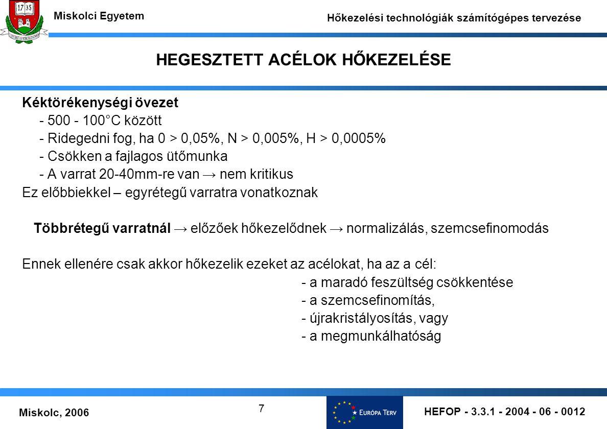 HEFOP - 3.3.1 - 2004 - 06 - 0012 Miskolc, 2006 Miskolci Egyetem Hőkezelési technológiák számítógépes tervezése 7 HEGESZTETT ACÉLOK HŐKEZELÉSE Kéktörékenységi övezet - 500 - 100°C között - Ridegedni fog, ha 0 > 0,05%, N > 0,005%, H > 0,0005% - Csökken a fajlagos ütőmunka - A varrat 20-40mm-re van → nem kritikus Ez előbbiekkel – egyrétegű varratra vonatkoznak Többrétegű varratnál → előzőek hőkezelődnek → normalizálás, szemcsefinomodás Ennek ellenére csak akkor hőkezelik ezeket az acélokat, ha az a cél: - a maradó feszültség csökkentése - a szemcsefinomítás, - újrakristályosítás, vagy - a megmunkálhatóság