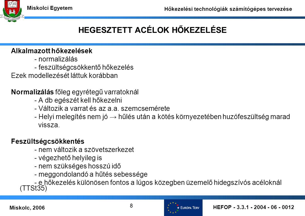 HEFOP - 3.3.1 - 2004 - 06 - 0012 Miskolc, 2006 Miskolci Egyetem Hőkezelési technológiák számítógépes tervezése 8 HEGESZTETT ACÉLOK HŐKEZELÉSE Alkalmazott hőkezelések - normalizálás - feszültségcsökkentő hőkezelés Ezek modellezését láttuk korábban Normalizálás főleg egyrétegű varratoknál - A db egészét kell hőkezelni - Változik a varrat és az a.a.