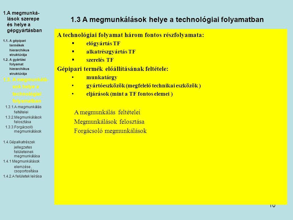 10 1.3 A megmunkálások helye a technológiai folyamatban A technológiai folyamat három fontos részfolyamata:  előgyártás TF  alkatrészgyártás TF  szerelés TF Gépipari termék előállításának feltétele: munkatárgy gyártóeszközök (megfelelő technikai eszközök ) eljárások (mint a TF fontos elemei ) A megmunkálás feltételei Megmunkálások felosztása Forgácsoló megmunkálások 1.A megmunká- lások szerepe és helye a gépgyártásban 1.1.