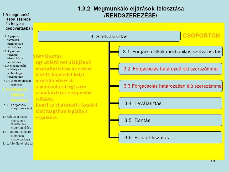 14 1.3.2. Megmunkáló eljárások felosztása /RENDSZEREZÉSE/ 3. Szétválasztás 3.1. Forgács nélküli mechanikus szétválasztás 3.2. Forgácsolás határozott é