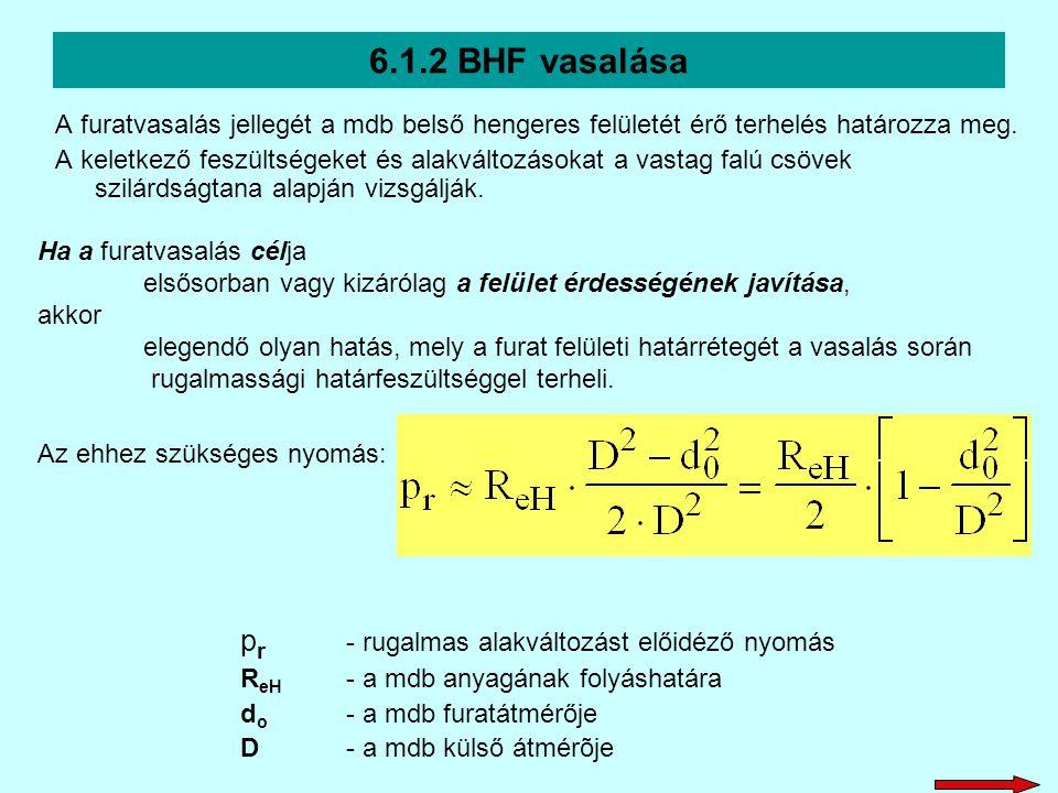6.1.2 BHF vasalása A furatvasalás jellegét a mdb belső hengeres felületét érő terhelés határozza meg. A keletkező feszültségeket és alakváltozásokat a