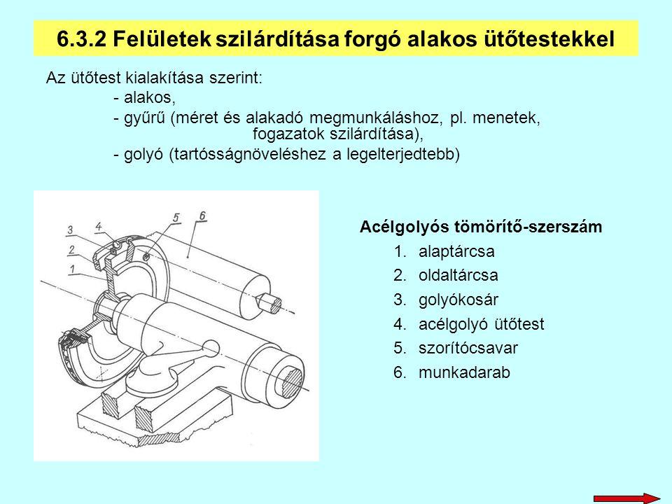 Az ütőtest kialakítása szerint: - alakos, - gyűrű (méret és alakadó megmunkáláshoz, pl. menetek, fogazatok szilárdítása), - golyó (tartósságnöveléshez