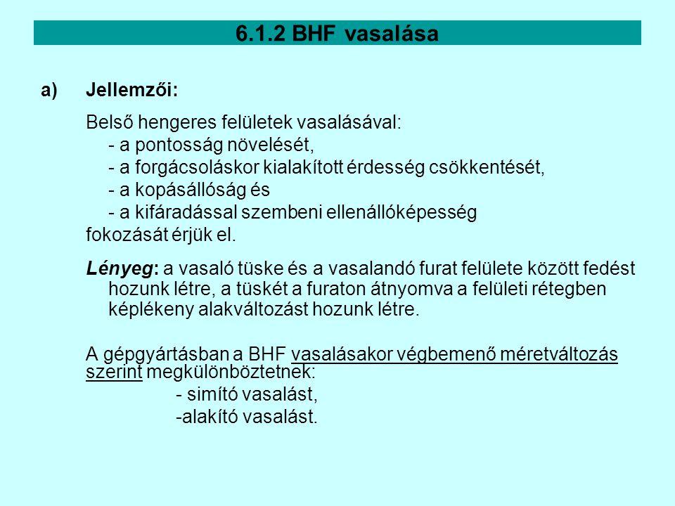 6.1.2 BHF vasalása a)Jellemzői: Belső hengeres felületek vasalásával: - a pontosság növelését, - a forgácsoláskor kialakított érdesség csökkentését, -