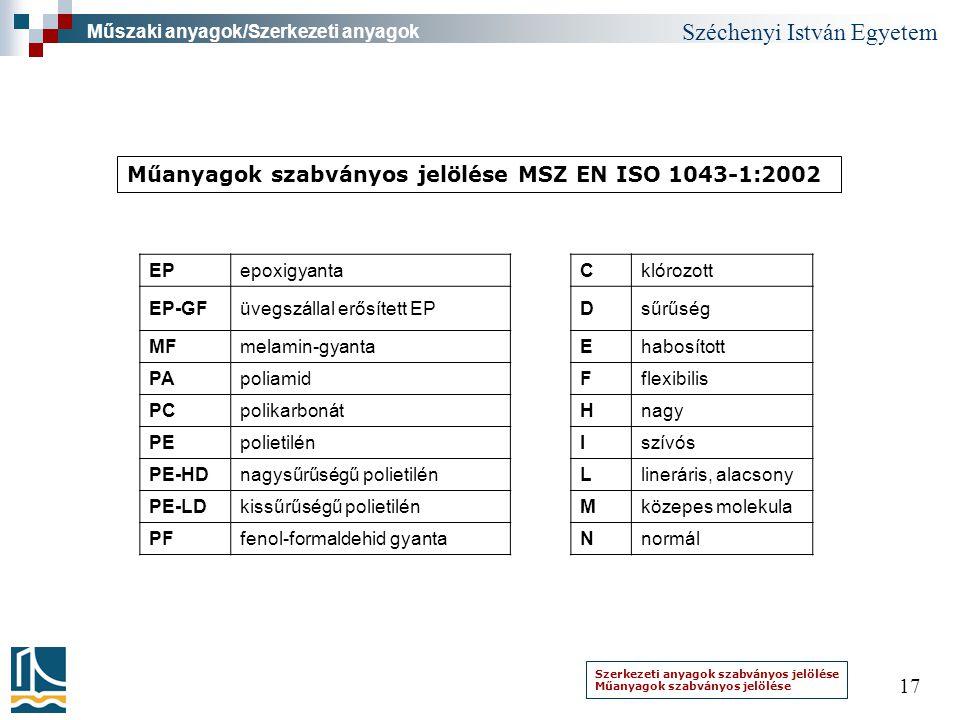 Széchenyi István Egyetem 17 Szerkezeti anyagok szabványos jelölése Műanyagok szabványos jelölése Műszaki anyagok/Szerkezeti anyagok EPepoxigyantaCklór