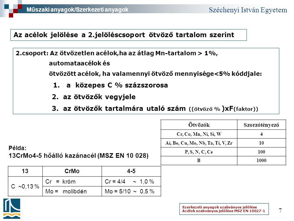Széchenyi István Egyetem 7 Műszaki anyagok/Szerkezeti anyagok Az acélok jelölése a 2.jelöléscsoport ötvöző tartalom szerint 2.csoport: Az ötvözetlen a